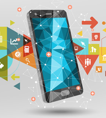 Smart phone surrounded by icons representing different types of apps