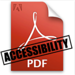 "Acrobat PDF logo with the word ""Accessibility"" stamped over it"