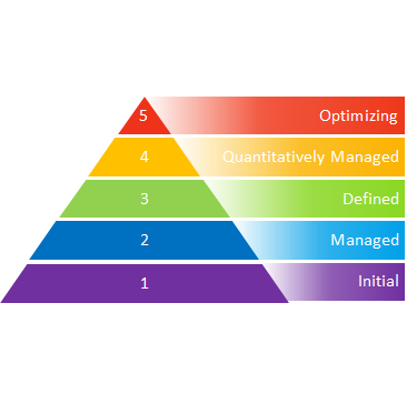 Pyramid with 5 levels of DAMM Maturity
