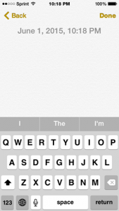 Screenshot of the Apple notes app showing the done button with no border or background.