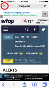 wtop.com website on mobile device showing menus, headings, and Alerts heading.