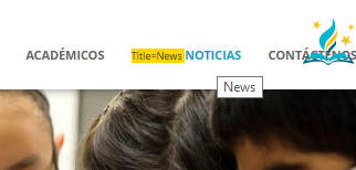 "Screenshot of the title attribute being displayed on a menu item with the English word ""News"""