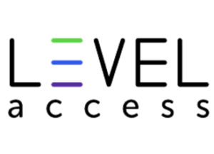 Level Access Logo - Level Access logo, with the first E in Level created with no vertical line. Bottom line is purple, middle line is blue, and top line is green. We think it makes it feel like you're moving up, up, up! What do you think?