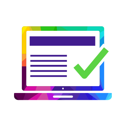 laptop icon with a green checkmark