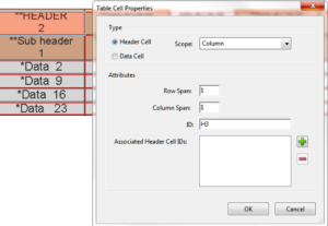 Table cell properties dialog is open after a header cell has been right clicked in the table editor. Fields are filled according to instructions below
