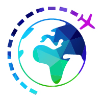 airplane icon going around a globe icon