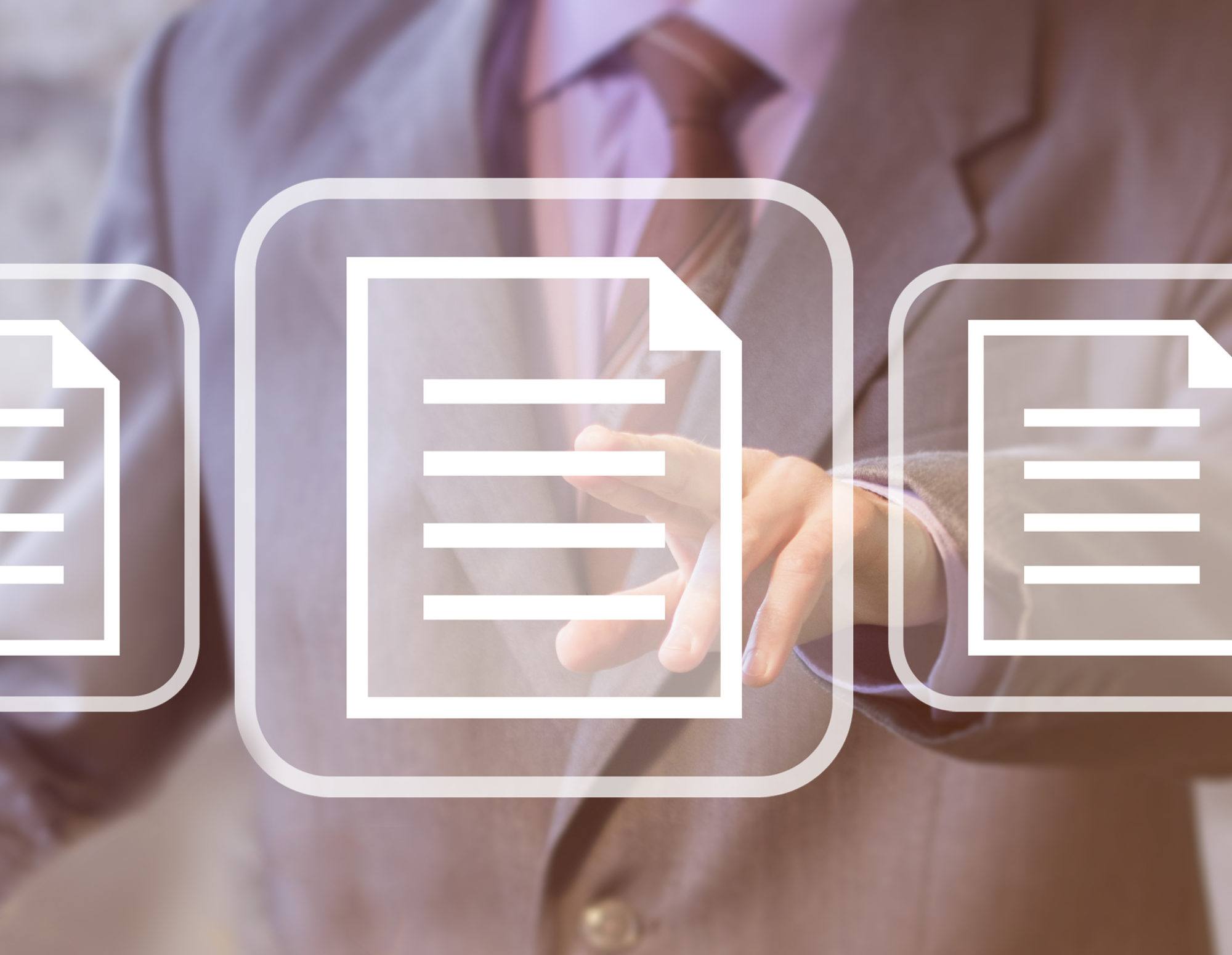 floating document icon in front of a business person