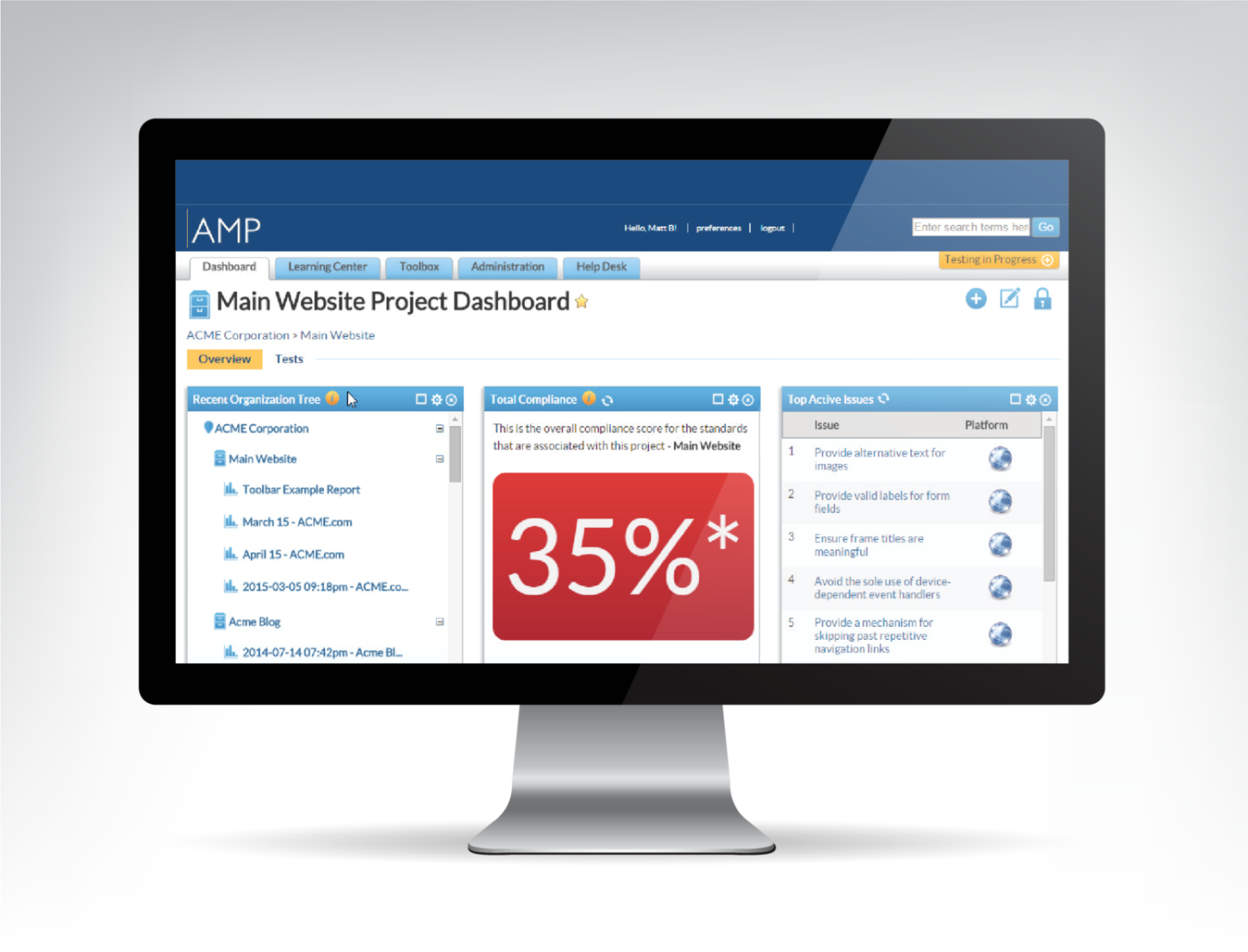 Sample AMP screenshot showing a total compliance score of 35% on a project dashboard.