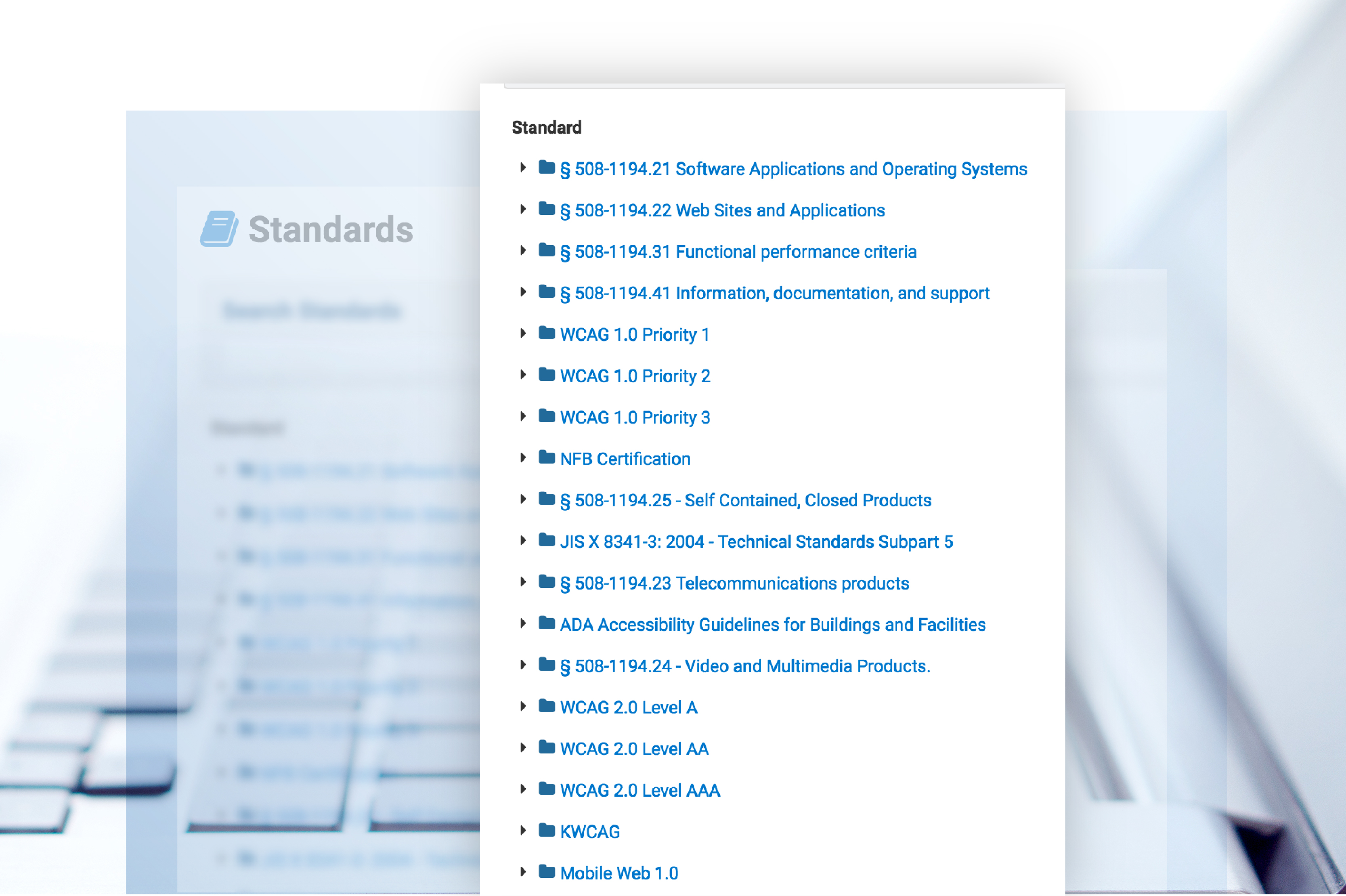 screenshot of some of the accessibility standards