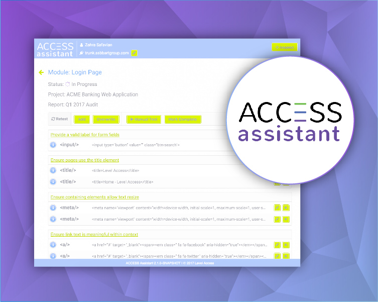 access assistant screenshot and logo