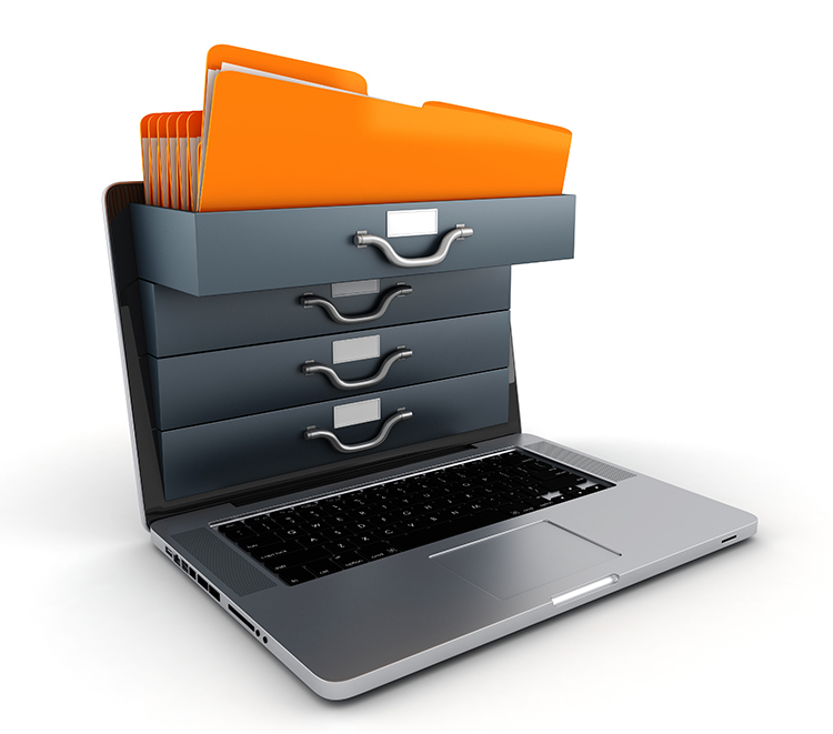 file coming out of organized laptop icon
