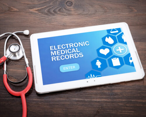 tablet sign in page for Electronic Medical Records