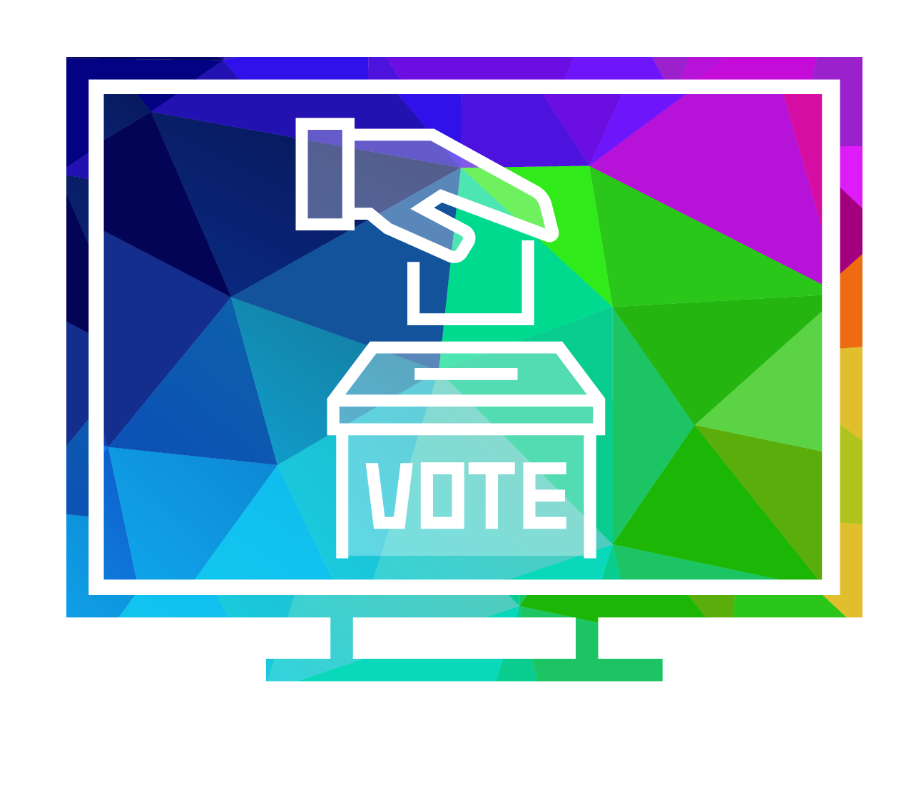 Icon of hand putting ballot in voting box