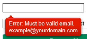 error: must be valid email. example@yourdomain.com