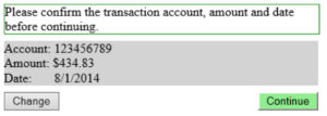 Please confirm the transaction amount, showing different formats for numbers: Account, Amount, Date