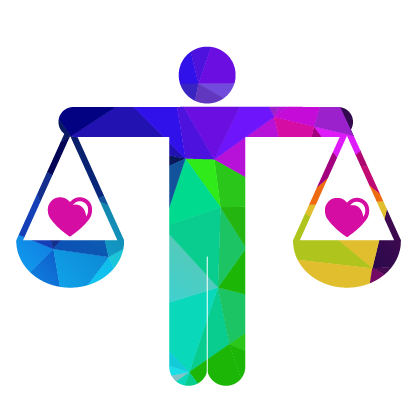 person icon holding hands out like a legal scale with a heart on each scale