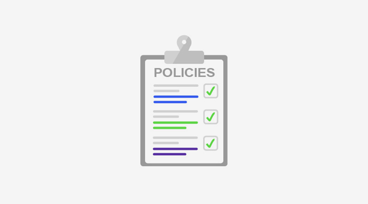 A clipboard with a list labeled Policies. It has three items that are all checked off.