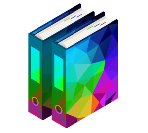 RFP icon - two colorful binders with tabs