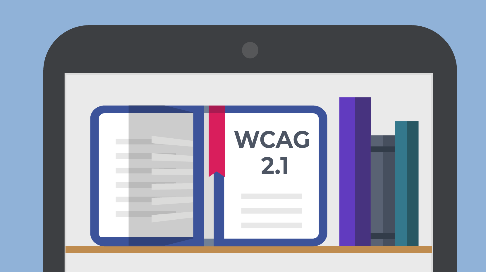 A smartphone displays a bookshelf. An open book is labeled WCAG 2.1