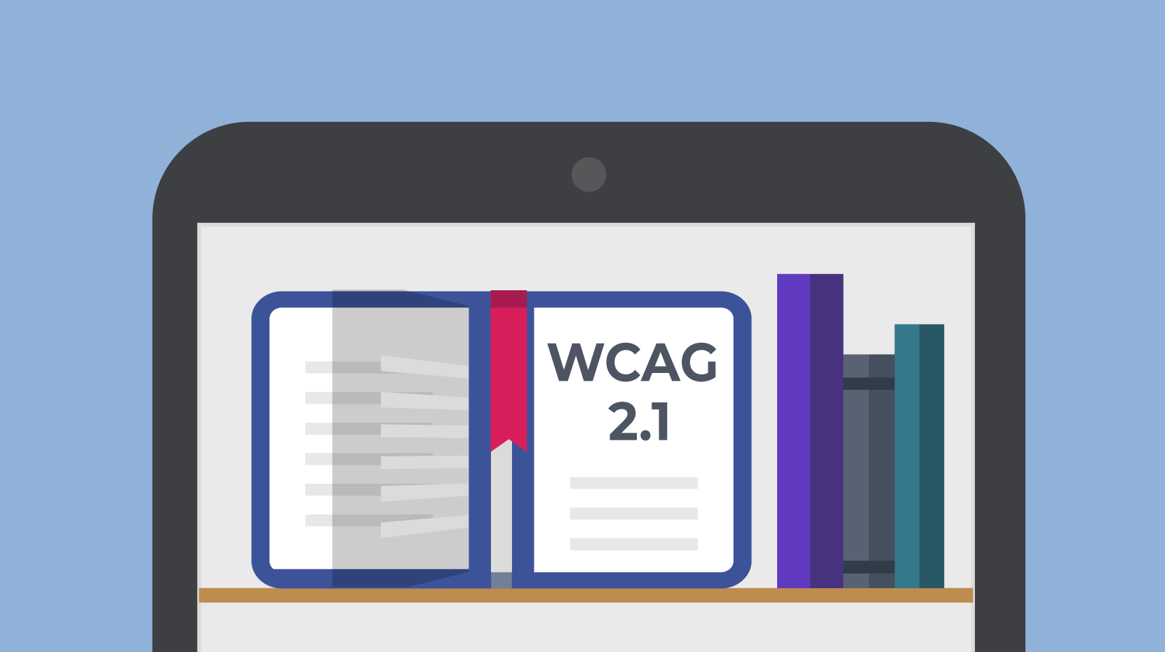 A smartphone screen showing a bookshelf. An open book is labeled WCAG 2.1.