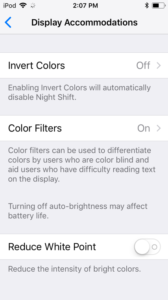 screenshot of the iOS Display Accommodations, with Invert Colors, Color Filters, and Reduce White Point