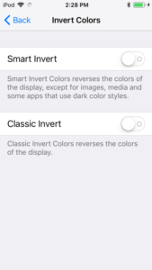 screenshot of the iOS Invert Colors screen, with Smart Invert and Classic Invert options