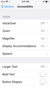 screenshot of iOS settings, General, Accessibility screen