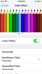 screenshot of the Color Filters screen with Grayscale, Red/Green filter, Green/Red filter, and more as options to help with color deficiency