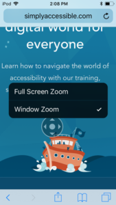 Screenshot of Simply Accessible homepage with the Zoom controller enabled, revealing two choices: Full Screen Zoom and Window Zoom, with Window Zoom selected