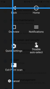 Screenshot of Android switch access menu