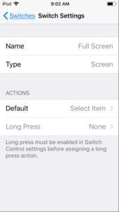 Screenshot of Accessibility - Switch Control - Switch Settings in iOS