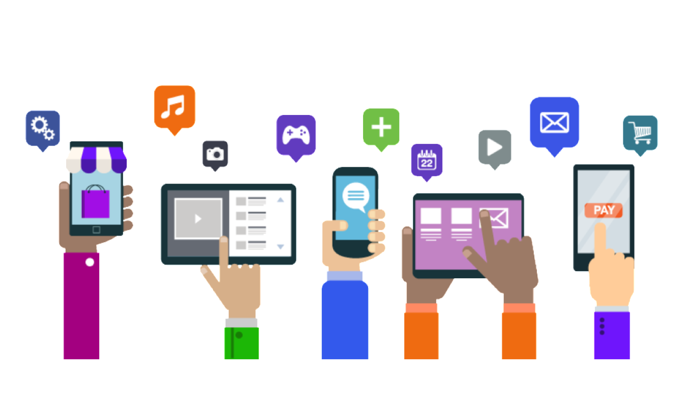 Group of hands holding up a variety of mobile devices with icons for different types of apps