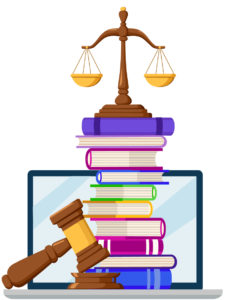 Scales of justice and gavel with law books