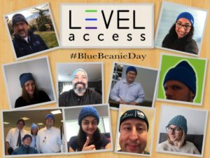 Blue Beanie Day Collage of Level Access employees