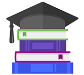 Square academic cap on books