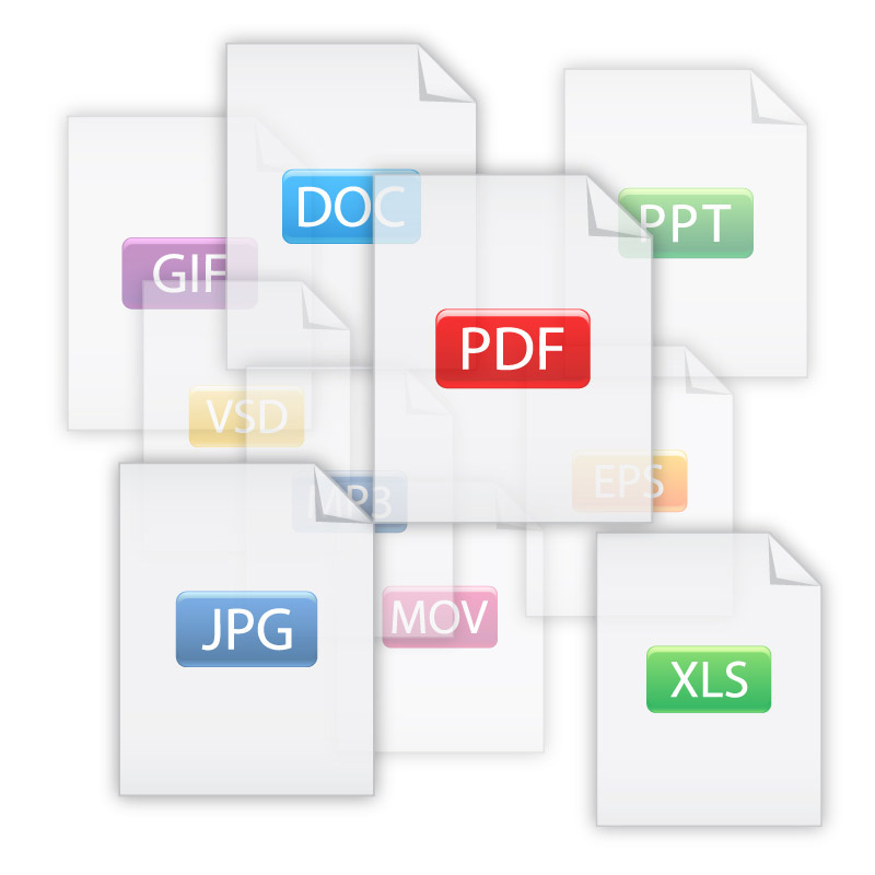 Types of documents, including PDF, doc, ppt, xls.