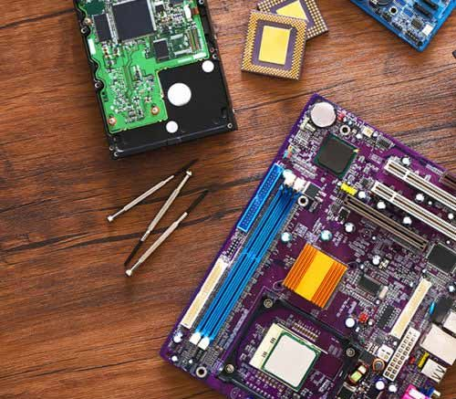 motherboards on table