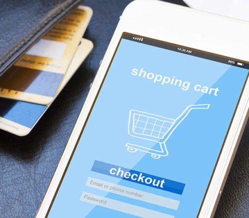 phone showing shopping cart checkout