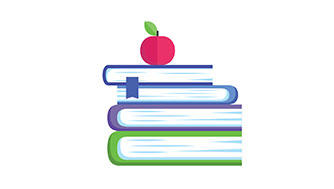 Stack of school books with apple