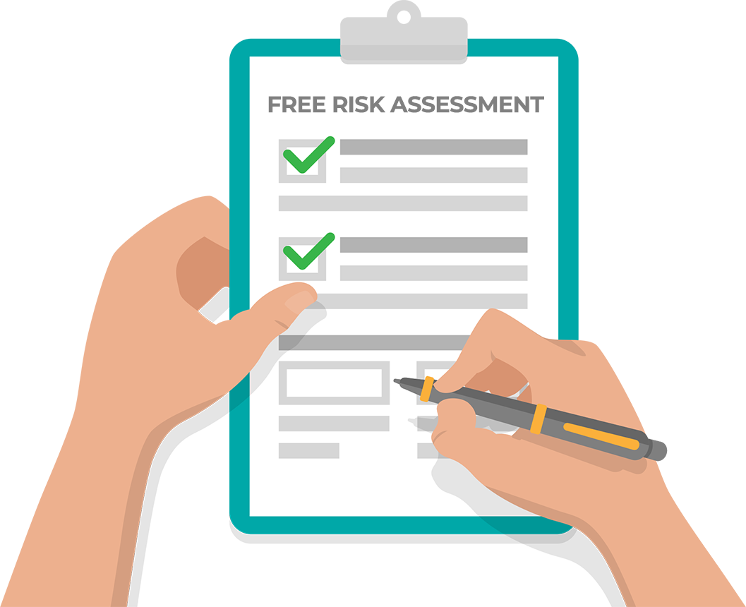 Hands holding a free risk assessment form