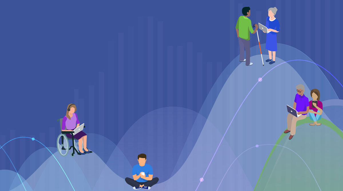 A diverse group of people using technology set on a backdrop of colorful waves of data.