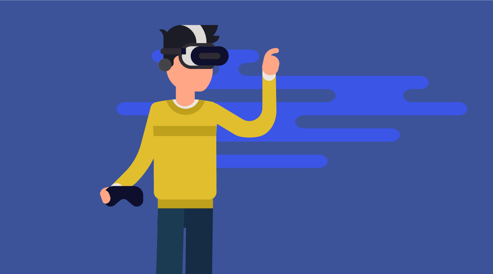 A man wearing a VR headset and holding a game controller in one hand. His other hand is reaching for something we cannot see.