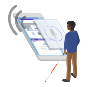 Illustration of a person with a white cane standing in front of a giant iphone that is using VoiceOver.
