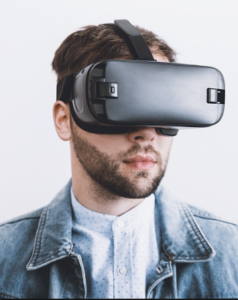 Person using a virtual reality headset