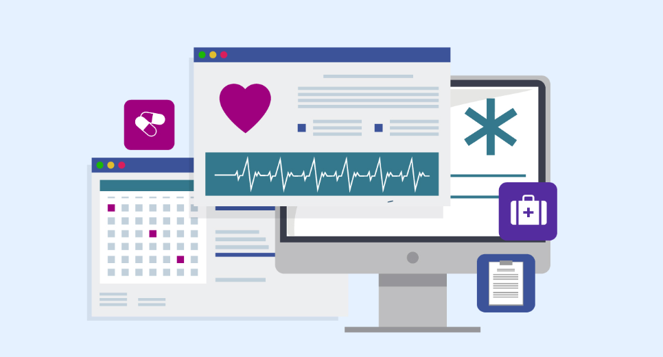 Three screens showing healthcare-themed websites and apps