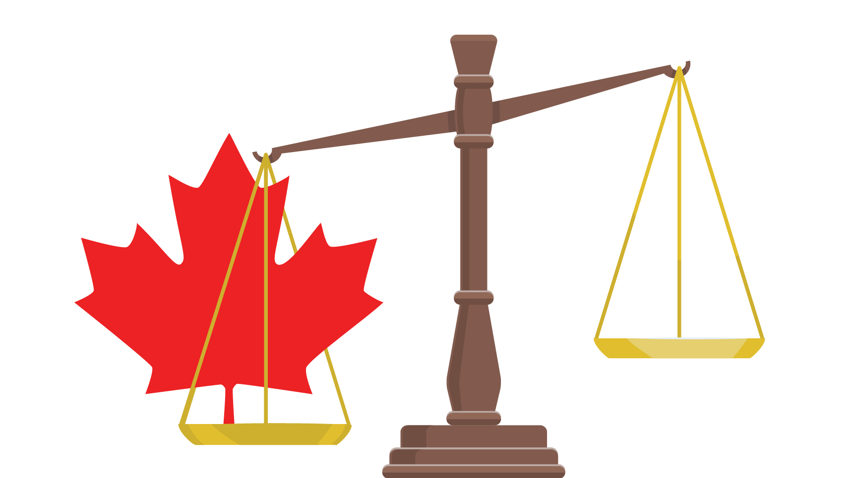 Scales of justice with Canadian maple leaf