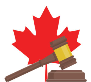 Canadian maple leaf with judge's gavel
