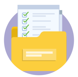 A yellow file folder with several pages popping out. The top page is a checklist that appears complete.