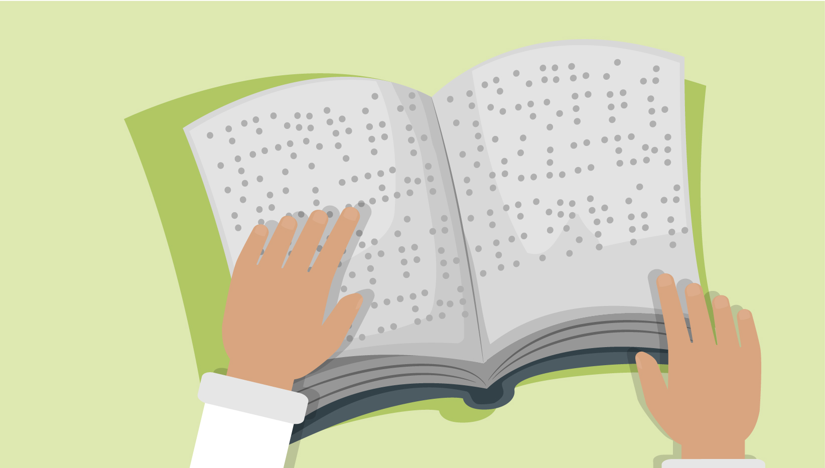 a book printed in braille with two hands resting on it