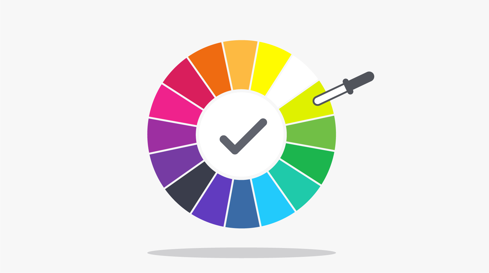 A color wheel with a dropper tool hovering over the lime green